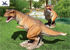 Playground Exhibition Twins Dinosaur Lawn Decorations For Theme Park